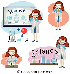 Set of various girl science