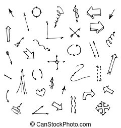 Set of various graphic arrows on a white background. Hand drawn doodles. Sketch. Vector illustration.