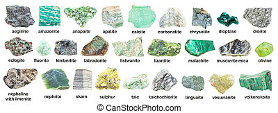 set of various green rough minerals with names (eclogite, ...