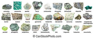 set of various green rough stones with names (labradorite, ...
