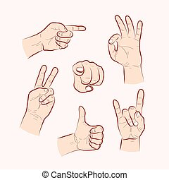 Set of various hand gestures