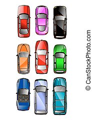 Cars - Set of Various Isolated Vector Cars, Top View...