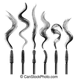 Set of various mascara brushes with strokes on white