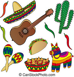 Set of various Mexican images - vector illustration.