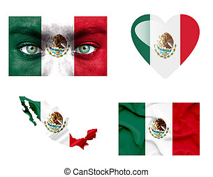 Set of various Mexico flags