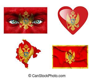 Set of various Montenegro flags