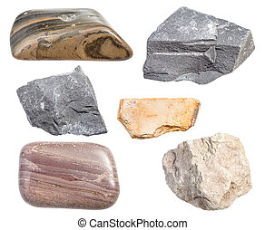 set of various mudstone rocks isolated