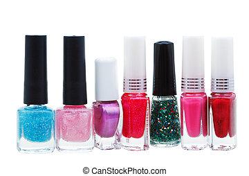 set of various nail polish isolated on white