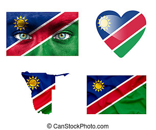 Set of various Namibia flags