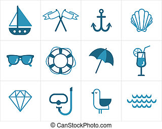 Set of various nautical icons