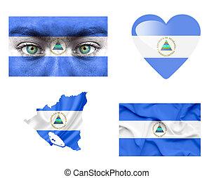 Set of various Nicaragua flags