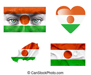 Set of various Niger flags