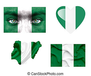 Set of various Nigeria flags