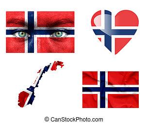 Set of various Norway flags