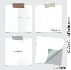 Set of various note papers, ready for your message. Vector...