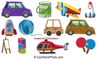 Set of various objects cartoon
