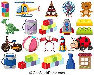 Set of various objects cartoon