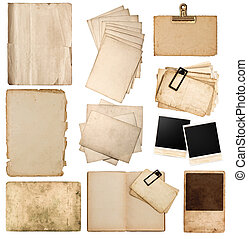 set of various old paper sheets and photo frames