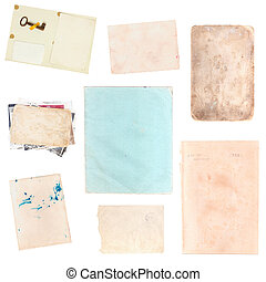 set of various old paper sheets and pictures
