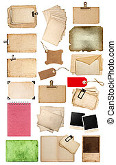 set of various old paper sheets and tags