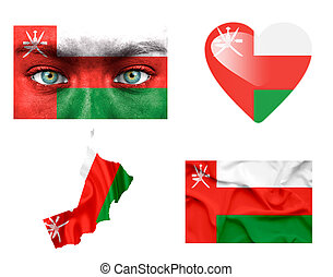 Set of various Oman flags