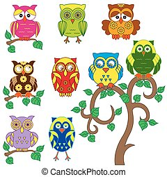 Set of various ornamental colorful owls