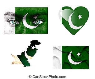 Set of various Pakistan flags