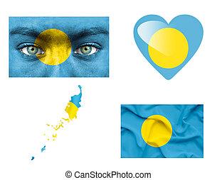 Set of various Palau flags
