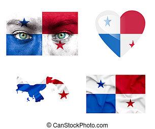 Set of various Panama flags