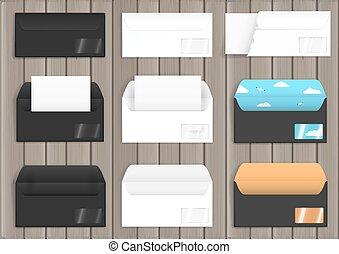 Set of various paper envelopes, white and black. Mock up....