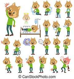 animal dog man_sickness - Set of various poses of animal dog...