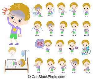 blond hair boy About the sickness - Set of various poses of...