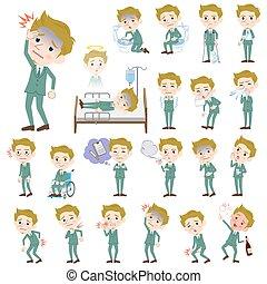blond hair man White sickness - Set of various poses of...