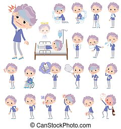 blue one piece old women_sickness - Set of various poses of...