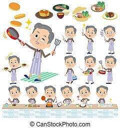 Brown wear beard old man cooking - Set of various poses of...