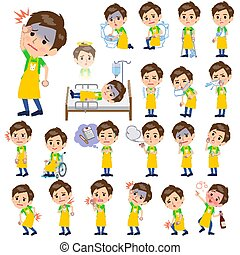 Childminder men_sickness - Set of various poses of...
