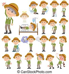 farmer worker old man sickness - Set of various poses of...