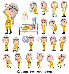Firefighter man sickness - Set of various poses of...