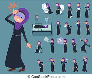 flat type Arab woman_sickness - Set of various poses of flat...