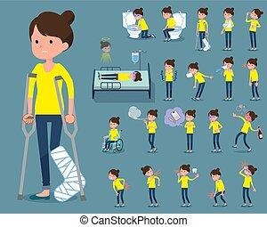 flat type Bun hair mom sickness - Set of various poses of...