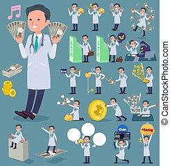 flat type Doctor old man_money