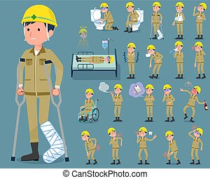 flat type helmet construction worker man_sickness - Set of...