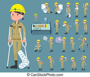 flat type helmet construction worker woman_sickness - Set of...