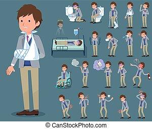 flat type Jacket blue vest men_sickness - Set of various...