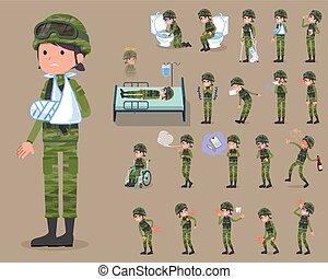 flat type military wear woman_sickness - Set of various...