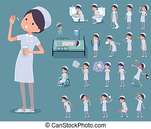 flat type Nurse wear woman_sickness - Set of various poses...