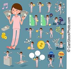 flat type patient woman money