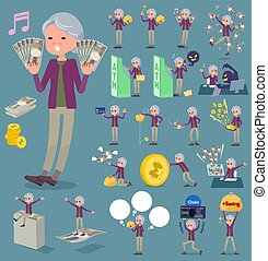 flat type Purple clothes grandmother money