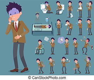 flat type school boy Brown Blazer_sickness - Set of various...