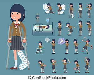 flat type school girl Brown Blazer_sickness - Set of various...